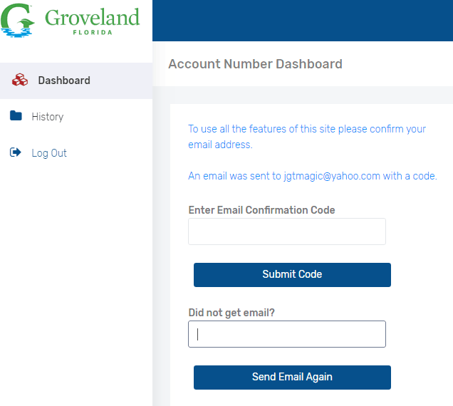 utility billing account confirmation screen