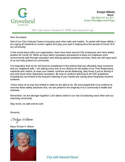 Mayor Wilson Health and Wellness Community Letter
