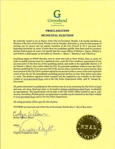 Novembe 3, 2020 COG Proclamation Municipal Election posted 5-01-2020 Opens in new window